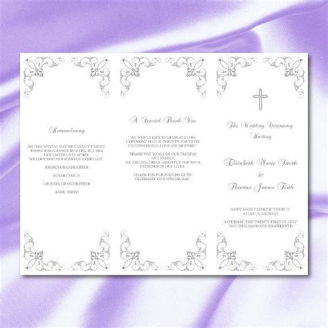 catholic wedding program template silver gray trifold