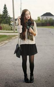Black flare skirt/dress + black tights + booties + cream slouchy sweater + patterned scarf ...