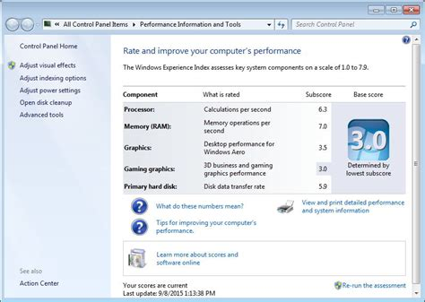 how to rate and optimize pc performance in windows 10 8 7