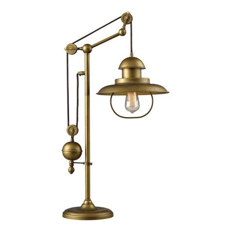 Pier 1 Industrial Floor Lamp by Elk Lighting Farmhouse 1 Light Table Lamp In Antique Brass
