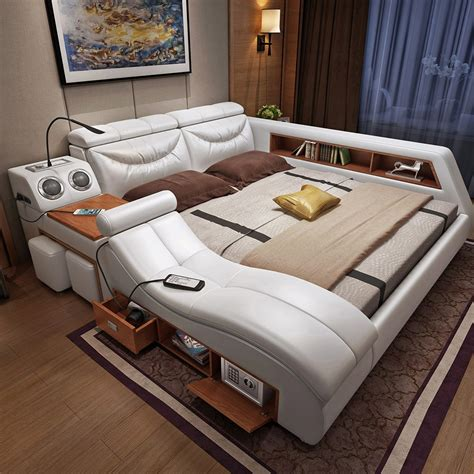 cbmmart luxury home genuine cow leather bed timber