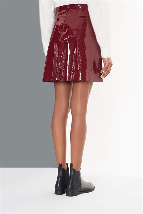 lyst topshop patent   skirt  red
