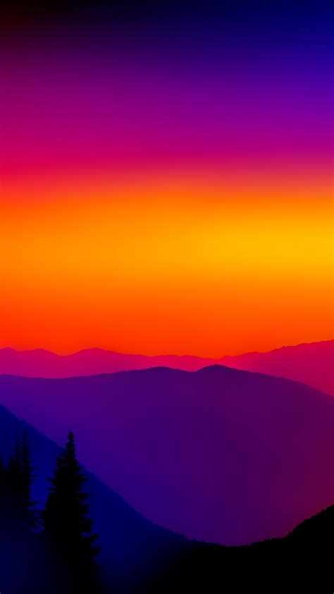 colorful sunset mountains mist iphone wallpaper