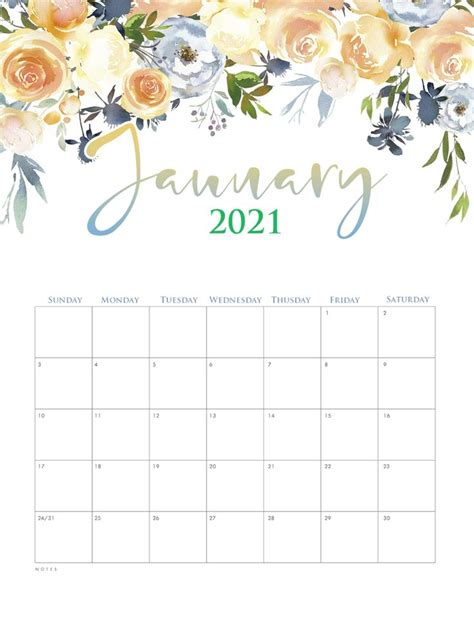 cute january  calendar template calendar printables