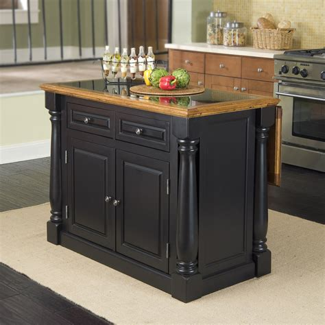 granite top kitchen island shop home styles 48 in l x 25 in w x 36 in h black kitchen