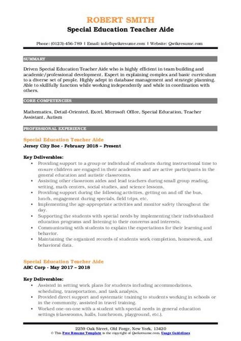 Teachers Aide Resume by Special Education Aide Resume Sles Qwikresume