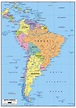 Large political map of South America with roads and major ...