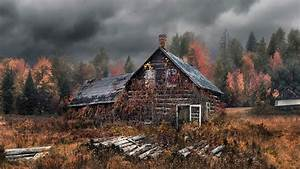 Download Wallpaper 1600x900 Old house, autumn, forest HD ...
