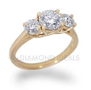 yellow gold engagement ring three trellis engagement ring in yellow gold ideals