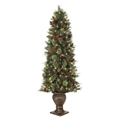 martha stewart living 6 5 ft pre lit potted artificial christmas tree with clear lights set of