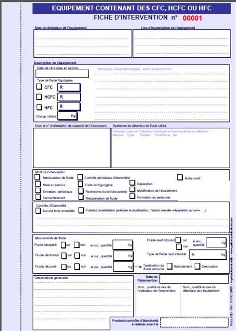 modele fiche d intervention maintenance fiches d intervention 233 quipements contenant du cfc hcfc