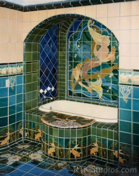 wall tile borders bath with quot mck mermaid quot mural and quot lilly quot deco rtk studios