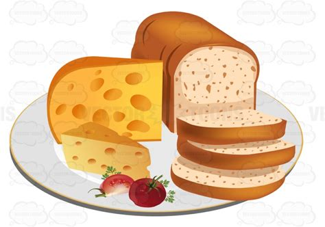 sliced loaf of bread with cheese on a plate clipart vector