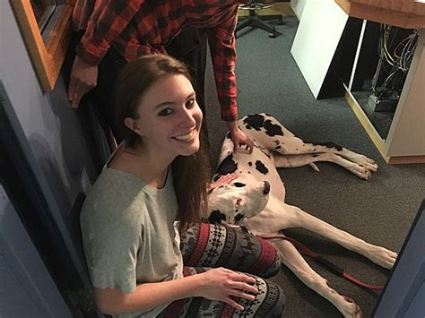 kylie faces  fear  pets  large dog