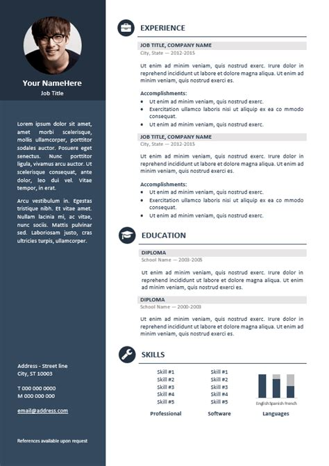 The Best Cv Layout by Orienta Free Professional Resume Cv Template Blue Cv