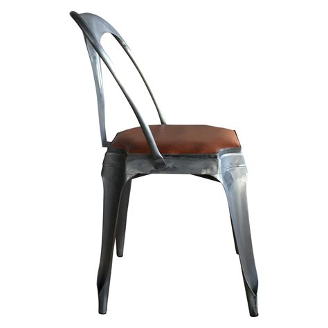 chaise industriel chaise style vintage industriel en métal et cuir demeure
