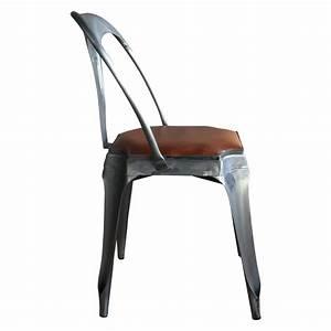 Chaise Industrielle Cuir : chaise style vintage industriel en m tal et cuir demeure et jardin ~ Teatrodelosmanantiales.com Idées de Décoration