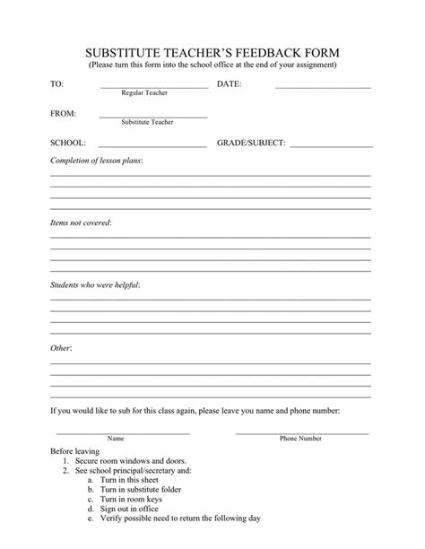 free substitute teacher forms seating chart template download free documents for pdf
