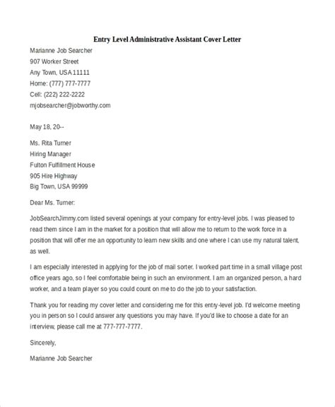Entry Level Assistant Cover Letter by Sle Administrative Assistant Cover Letter 7 Free