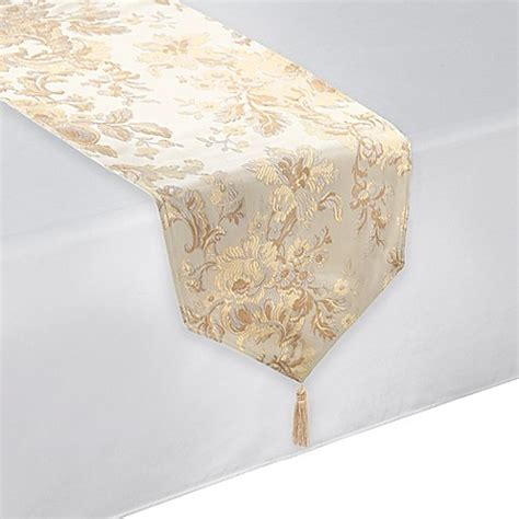 waterford 174 linens marcelle table runner in ivory bed bath beyond