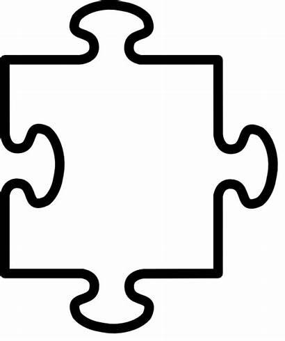 Puzzle Piece Coloring Pieces Clipart Outline Clip
