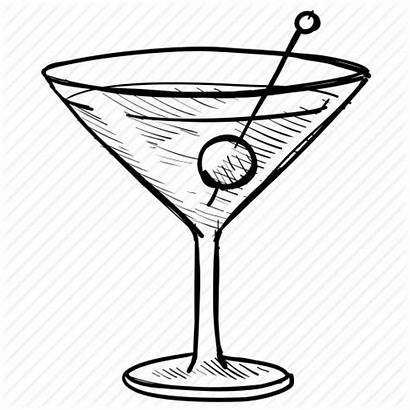 Martini Glass Alcohol Icon Drawing Drink Olive
