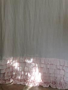 Rideaux Style Romantique : rideau lin rose volants shabby style le grenier d 39 alice ~ Melissatoandfro.com Idées de Décoration
