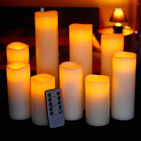 pillar flickering flameless led candles remote timer set