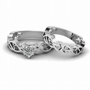 heart shaped diamond intricate grid solitaire wedding set With solitaire wedding ring sets