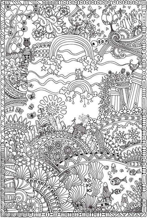insanely intricate entangled landscapes coloring page