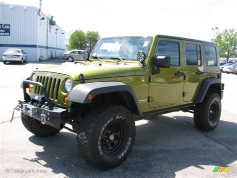 jeep unlimited green 2007 rescue green metallic jeep wrangler unlimited x 4x4