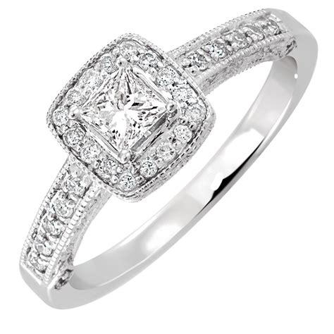 engagement ring with 0 45 carat tw of diamonds in 14kt white gold