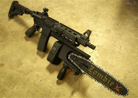 chainsaw guns zombie war apocalypse weapons maxim tactical gears means