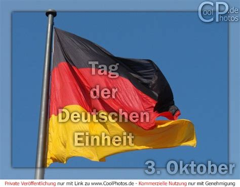 It commemorates german reunification in 1990 when the federal republic of germany (west germany) and the german democratic republic (east germany) were unified, so that for the first time since 1945 there existed a single german state. CoolPhotos.de - Tag der Deutschen Einheit - Flagge der Einheit