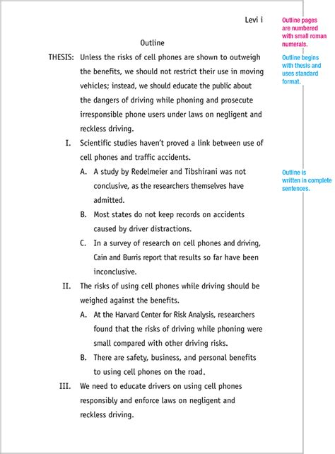 mla format outline template mla format sle paper with cover page and outline
