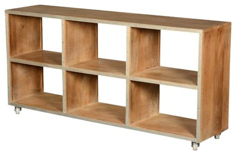 Open Back Wood Rolling Cubical Cabinet-rustic