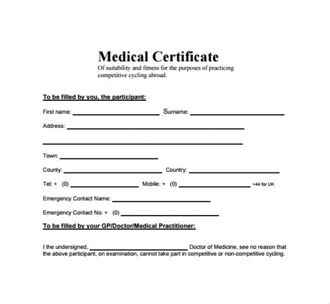 Sick Certificate Template by Top 5 Free Certificate Templates Word Templates