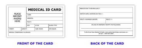 id card template medical information id card
