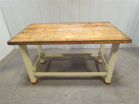 Heavy Duty Butcher Block Top Workbench Table Bolted Steel
