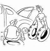 Coloring Pages Tire Wife Husband Flat Changing Helping Tires Printable Getdrawings Buggati Sheet Getcolorings Template Sketch sketch template