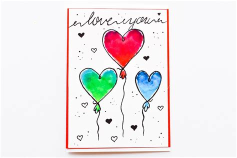 easy greeting card watercolor cartoon heart