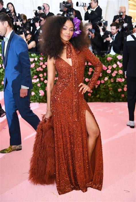 zoe saldana at the 2019 met gala celebrating c notes on fashion at metropolitan museum of