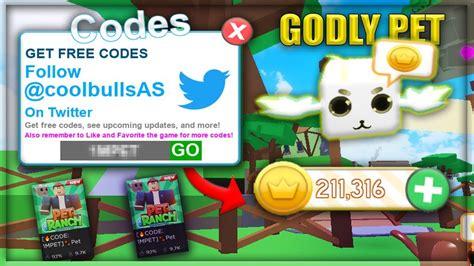 godly roblox pet ranch simulator codes youtube