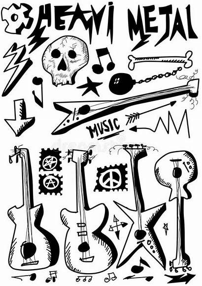 Metal Heavy Doodle Rock Roll Gambar Guitars