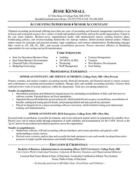 resume exles for senior accountant exle senior accountant resume free sle