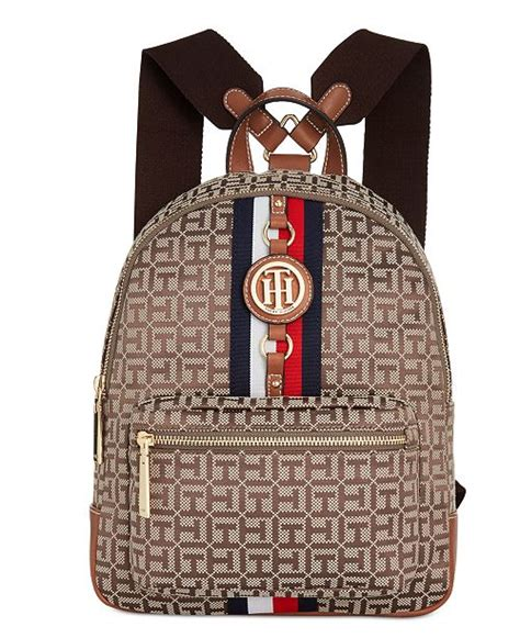 tommy hilfiger jaden monogram jacquard backpack reviews handbags accessories macys