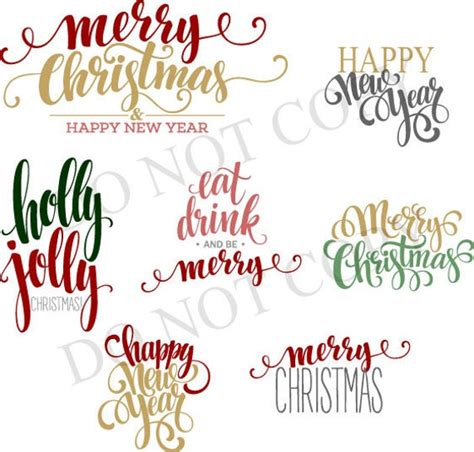 Happy new year christmas with elements decoration. dxf svg merry christmas happy new year font swirl script SVG