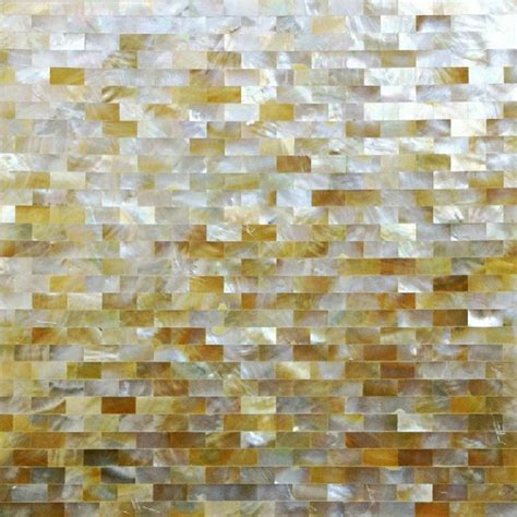 Kitchen Glass Tile Backsplash Ideas - natural golden shell subway tiles mother of pearl mosaic seamless deepwater seashell bravotti com