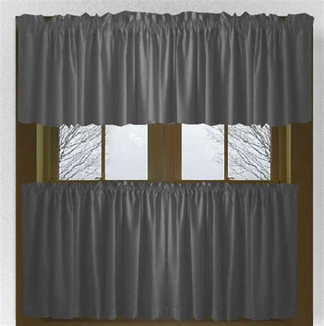 solid charcoal gray kitchencafe tier curtains