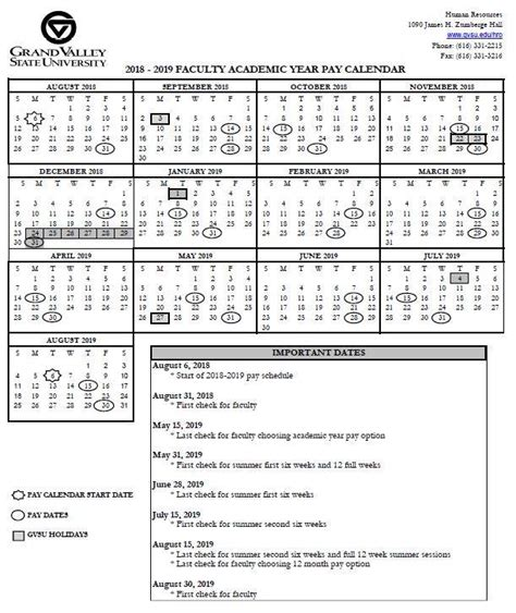 pay holiday calendars payroll office grand valley state university